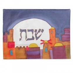 Tallit Set - Machine Embroidery - Jerusalem - Black + Gray
