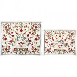 Tallit Set - Machine Embroidery - Jerusalem - Maroon
