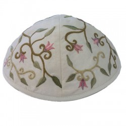 Kippah - Embroidered - Jerusalem - Maroon