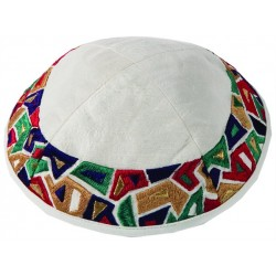 Kippah - Embroidered - Full Jerusalem - Silver + Gold