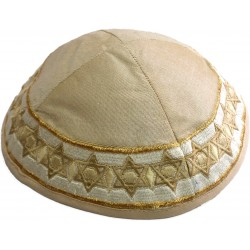Kippah Hand Embroidered - Jerusalem - Silver
