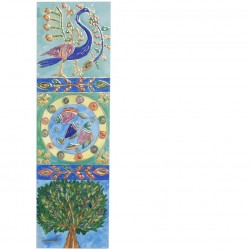 Small Wooden Painted Hamsa - Menorah