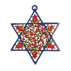 Silk - Painted Challah Cover- Jerusalem- Blue