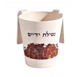 Large Wooden Mezuzah - Jerusalem Round