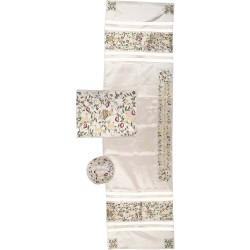 "Tfillin Bag - 2 Materials + Embroidery - ""Im Eshkechech"" Multicolor"