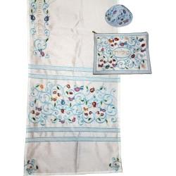 "Tfillin Bag - 2 Materials + Embroidery - ""Im Eshkechech"" Blue"