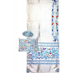 Tfilin Bag - Full Embroidery - Silver On Blue