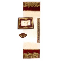 "Tfilin Bag -  Embroidery - Linen - ""Yevarchecha"" Dark"