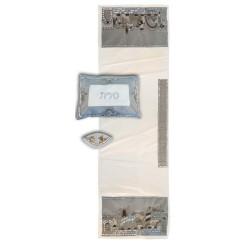 Tallit Bag - Machine Embroidery - Paper Cut - Blue