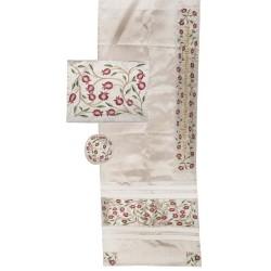 Tallit Bag - Machine Embroidery - Jerusalem - White