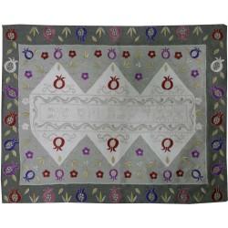 Tallit Bag - Machine Embroidery - Pomegranates - Blue + Silver