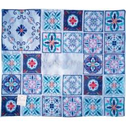 Tallit Bag - Machine Embroidery - Full Pomegranates - Blue + Silver