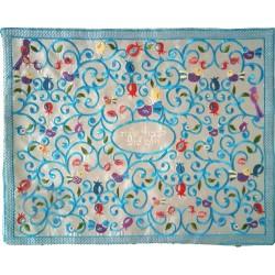 Tfillin Bag - 2 Materials + Embroidery - Pomegranates - Gold Stripe