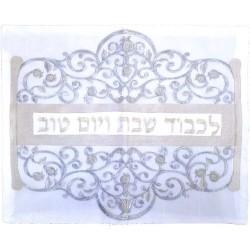 "Tallit Bag - 2 Materials + Embroidery - ""Im Eshkechech"" Blue"