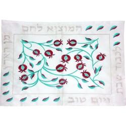 Afikoman Cover - Hand Embroidered - Jerusalem Blue