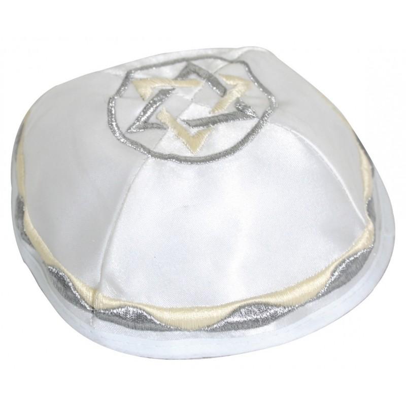 Kippah satin blanc clair