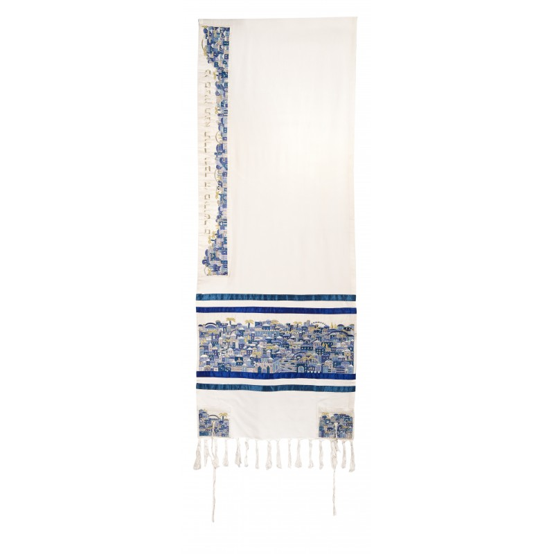 Tallit Bag - Full Embroidery - Jerusalem Blue