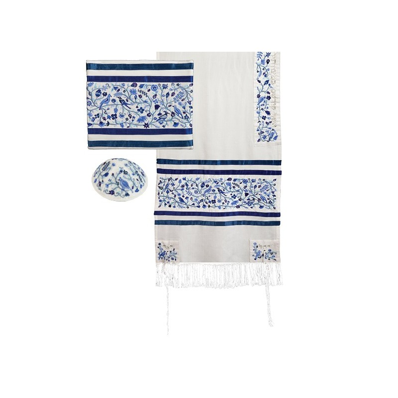 Tfilin Bag - Full Embroidery - Jerusalem - Silver + Gold