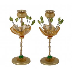 Pair of Glass Candle Holders   Jerusalem