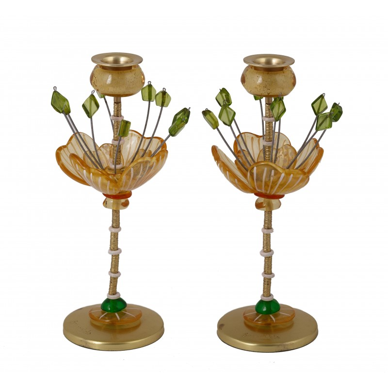 Fitted Candlesticks - Jerusalem Blue