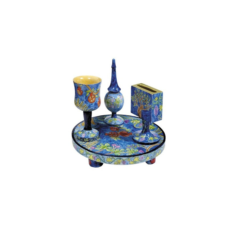 Tallit Set - Machine Embroidery - Jerusalem - Blue