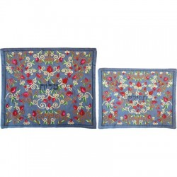 Tallit Set - Machine Embroidery - Flowers - Blue