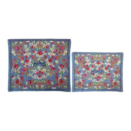 Tallit Set - Machine Embroidery - Flowers - Blue