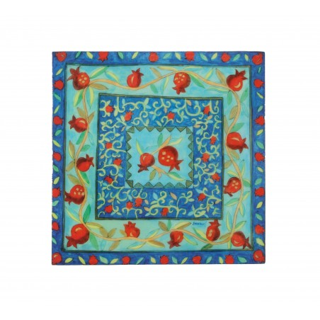 Kippah - Embroidered - Magen David - Blue+White