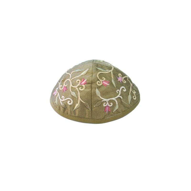 Kippah - Embroidered - Birds - Gold