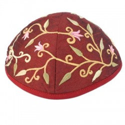 Kippah - Embroidered - Wave - Pink