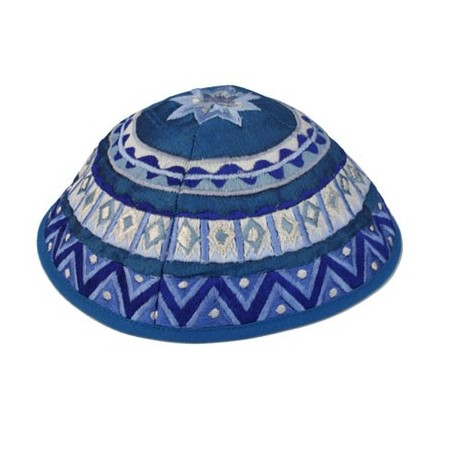 Kippah - Embroidered - Flowers - Blue