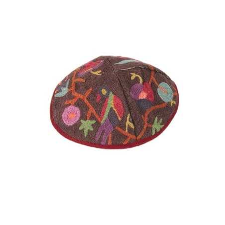 Kippah - Embroidered - Magen David - Pink