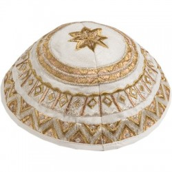 Kippah - Embroidered - Jerusalem - Silver + Gold