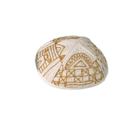 Kippah - Embroidered - Menorah - Gold