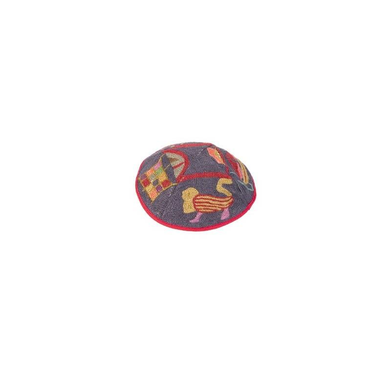 Kippah - Embroidered - Wave - Black