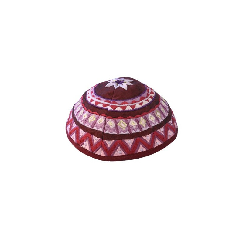 Kippah - Embroidered - Wave - Brown
