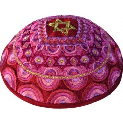 Kippah - Embroidered - Menorah - Multicolor