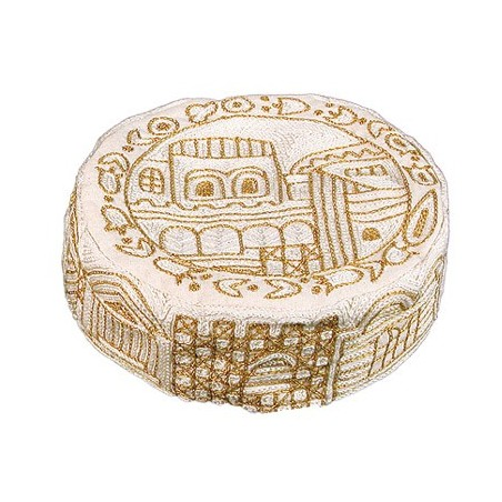 Kiddush Cup + Plate - Hand Painted on Wood - Jerusalem