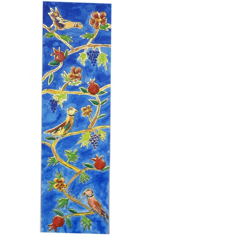 Large Wooden Painted Hamsa - Flowers