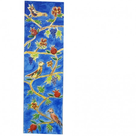 Large Wooden Painted Hamsa - Flowers