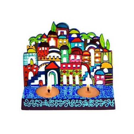 Raw Silk Applique`d Challah Cover- Jerusalem- Blue