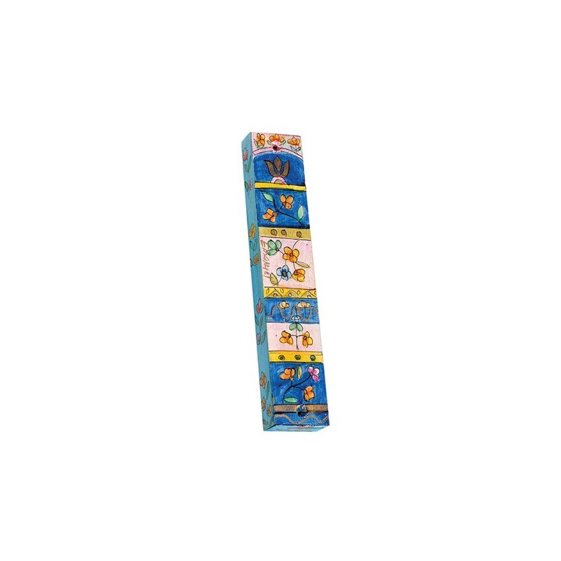 Embroidered Challah Cover - Two Borders - Blue