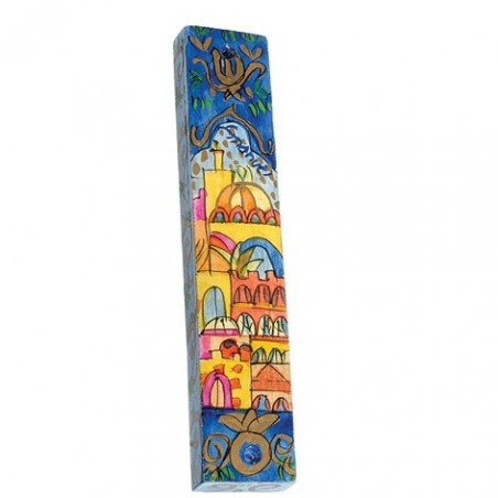 Hand Embroidered Challah Cover- Naive Jerusalem- Blue