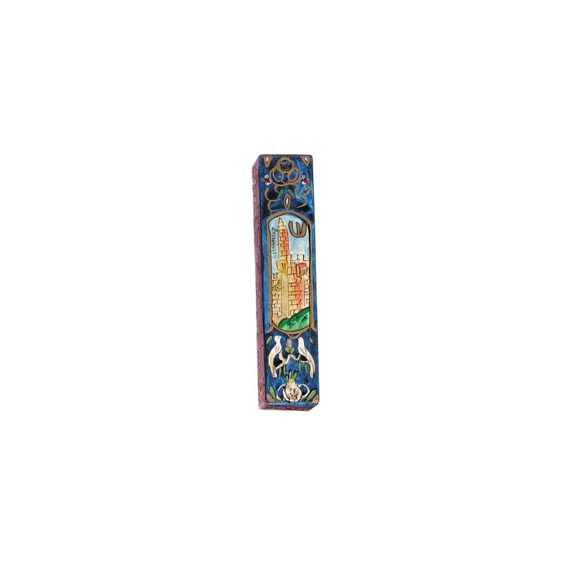 Silk - Painted Challah Cover- Panorama- Blue