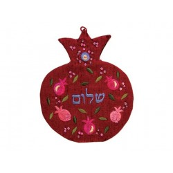 Large Wooden Mezuzah - Scattered Pomegranates