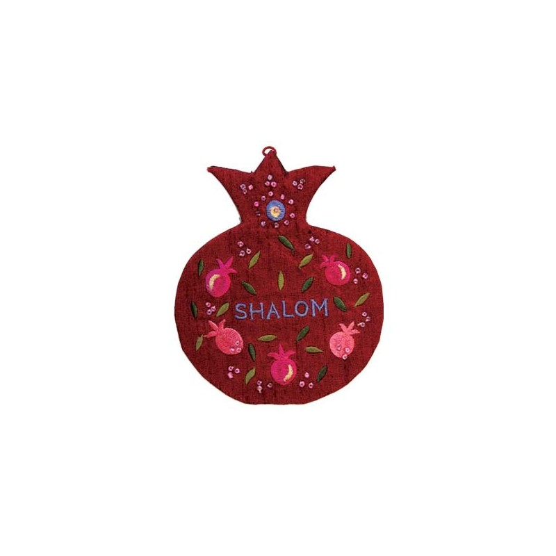 Wooden Shofar Stand - Small - Pomegranates