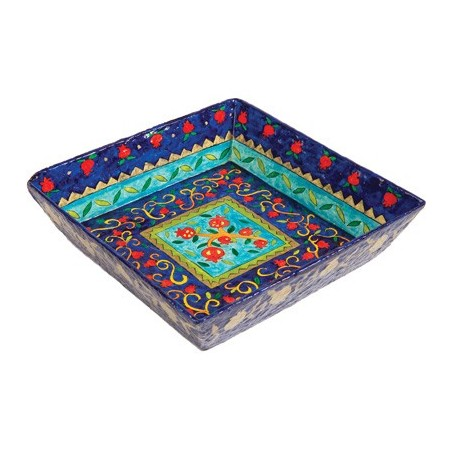Printed Wooden Matzah Tray - Multicolor
