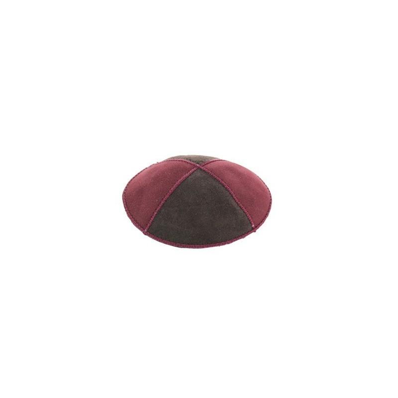 Kippa daim rouge-maron 16cm