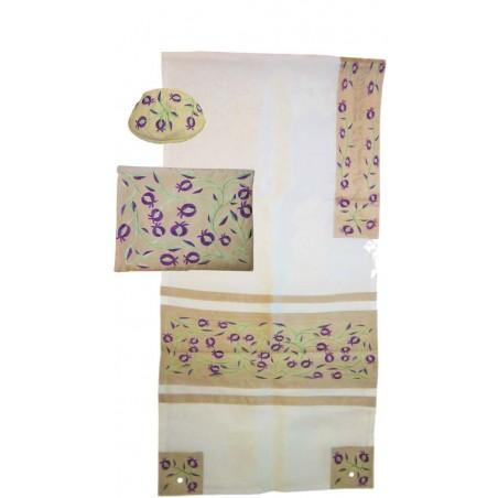 Tallit Bag - Machine Embroidery - Pomegranates -Blue