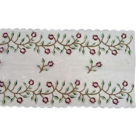 Table Runner Pomegranate Red Silver